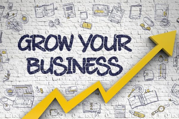 Grow Your Business - Modern Line Style Illustration with Doodle Design Elements. Grow Your Business Inscription on the Modern Style Illustation. with Orange Arrow and Doodle Icons Around.